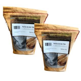 Lot 2x Farine T55 de blé 100% français - Minoterie du Trièves - sac 5Kg