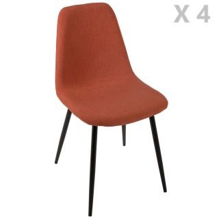 4 Chaises design scandinave Tyka - Orange terracotta