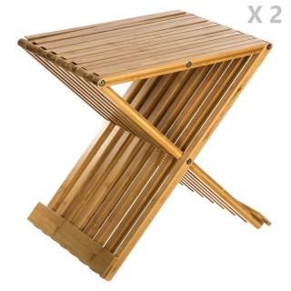 2 Tabourets pliants en bambou Delca - H. 45 cm - Beige