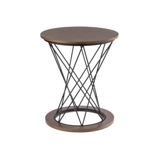 Table d'appoint ronde design Adelle - Diam. 60 x H. 68 cm - Marron noix