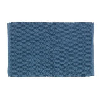 Tapis de salle de bain en coton Mona - L. 50 x l. 80 cm - Gris bleu