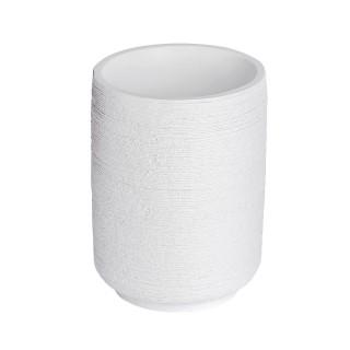Gobelet de salle de bain design naturel en relief Goa - Blanc