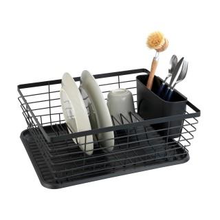 Egouttoir à vaisselle avec bac design métal Drip - Noir