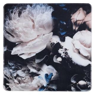 Tapis de douche antidérapant fleurs Peony - L. 54 x l. 54 cm - Noir
