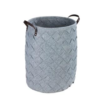 Panier à linge design feutrine tressée Trovo - Diam. 40 x H. 60 cm - Gris clair