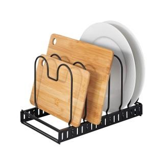 Rangement de placard cuisine - Support pour assiettes et couvercles - Noir