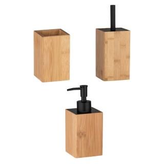 Set accessoires de salle de bain design bambou Padua - Marron