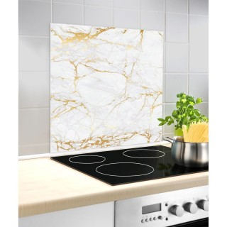 Fond hotte design Marbre - L. 60 x l. 70 cm - Blanc et or