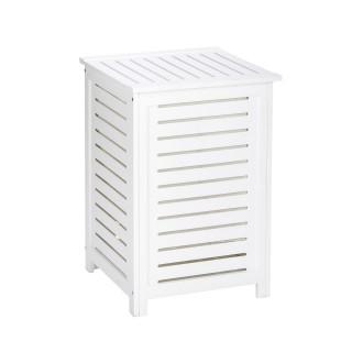 Panier à linge en bois Olso - L. 45 x H. 65 cm - Blanc