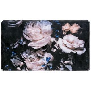 Tapis de baignoire antidérapant fleurs Peony - L. 70 x l. 40 cm - Noir