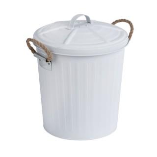 Poubelle de salle de bain design rétro Gara - 6 L - Blanc