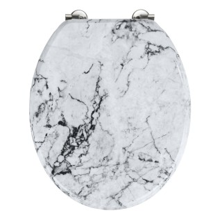 Abattant WC en MDF design marbre Onyx - Blanc