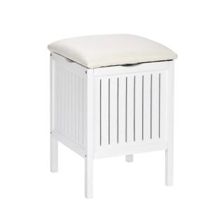 Tabouret de salle de bain en bois avec rangement Olso - L. 39 x H. 52 cm - Blanc