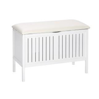 Tabouret de salle de bain en bois avec rangement Olso - L. 78 x H. 52 cm - Blanc