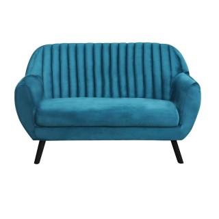 Canapé vintage velours côtelé Sofia - 2 Places - Bleu