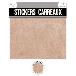 2 Stickers effet grès - 30 x 30 cm - beige