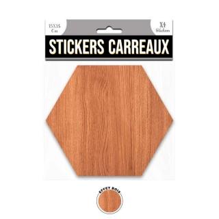 4 Stickers effet bois - 15 x 13 cm - marron