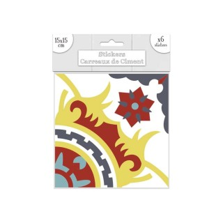 6 Stickers carreaux de ciment - 15 x 15 cm - Bleu et jaune