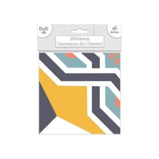 6 Stickers carreaux de ciment - 15 x 15 cm - Bleu et orange