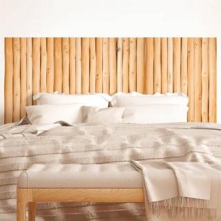 Sticker tête de lit Rondins en bois - 70 x 160 cm - Marron