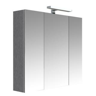Armoire de toilette éclairante 3 portes JUNO - L. 80 x H. 75 cm - Gris Chêne anthracite