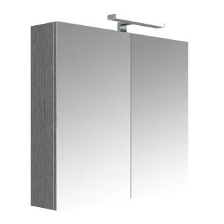 Armoire de toilette éclairante 2 portes JUNO - L. 80 x H. 75 cm - Gris Chêne anthracite