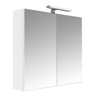 Armoire de toilette éclairante 2 portes JUNO - L. 80 x H. 75 cm - Blanc