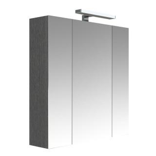 Armoire de toilette éclairante 3 portes JUNO - L. 70 x H. 75 cm - Gris Chêne anthracite
