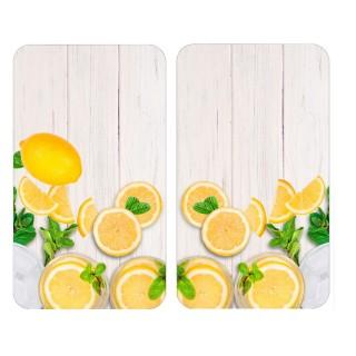 2 Couvre-plaques universel design Citrons - 30 x 52 cm - Jaune