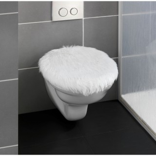 Housse pour abattant WC effet fourrure Olga - L. 50 x l. 40 cm - Blanc