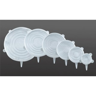 6 Couvres-pots extensibles en silicone Stretch - Blanc