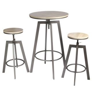 Table haute avec tabourets design industriel Aria - 2 Personnes - Noir