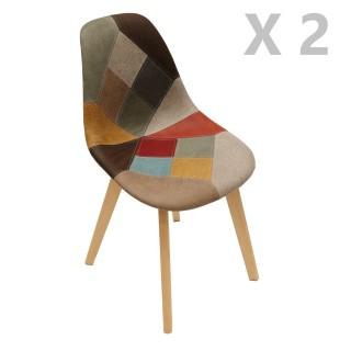 2 Chaises design scandinave Patchwork - Marron