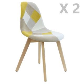 2 Chaises design scandinave Patchwork - Jaune