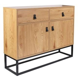 Buffet design bois et métal Abbott - L. 100 x H. 80 cm - Marron