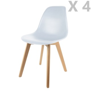 4 Chaises design scandinave à coque Holga - Blanc