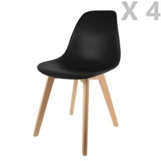4 Chaises design scandinave à coque Holga - Noir