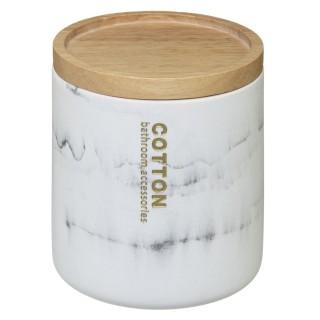 Pot à coton design marbre Lea - Blanc