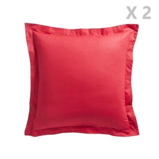 2 Taies d'oreiller Pomme d'Amour - 100% coton 57 fils - 75 x 75 cm - Rouge