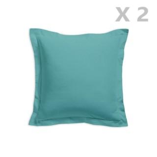 2 Taies d'oreiller Diabolo Menthe - 100% coton 57 fils - 75 x 75 cm - Bleu turquoise