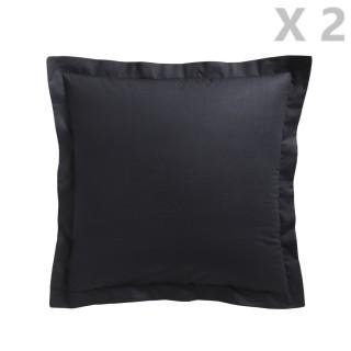 2 Taies d'oreiller Réglisse - 100% coton 57 fils - 75 x 75 cm - Noir