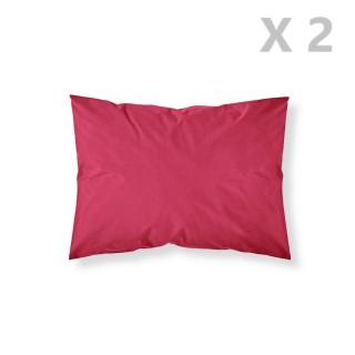 2 Taies d'oreiller Pomme d'amour - 100% coton 57 fils - 50 x 70 cm - Rouge
