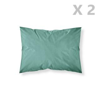 2 Taies d'oreiller Menthe Diabolo - 100% coton 57 fils - 50 x 70 cm - Bleu turquoise