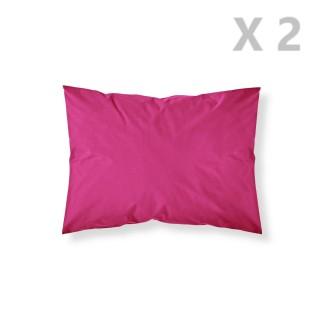 2 Taies d'oreiller Jus de Myrtille - 100% coton 57 fils - 50 x 70 cm - Rose