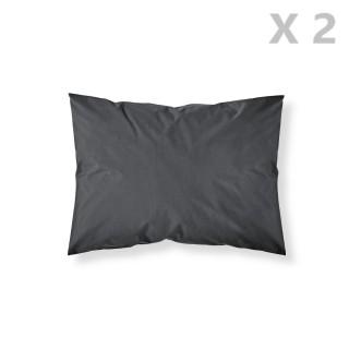 2 Taies d'oreiller Réglisse - 100% coton 57 fils - 50 x 70 cm - Noir