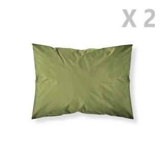 2 Taies d'oreiller Bambou - 100% coton 57 fils - 50 x 70 cm - Vert
