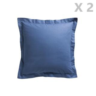 2 Taies d'oreiller Ciel d'orage - 100% coton 57 fils - 75 x 75 cm - Bleu