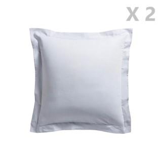 2 Taies d'oreiller Zinc - 100% coton 57 fils - 75 x 75 cm - Gris clair