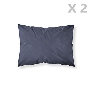 2 Taies d'oreiller Ciel d'orage - 100% coton 57 fils - 50 x 70 cm - Bleu foncé