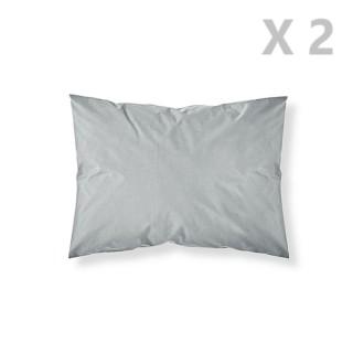 2 Taies d'oreiller Zinc - 100% coton 57 fils - 50 x 70 cm - Gris clair